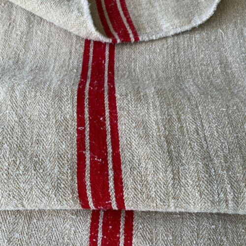 Christmas fabric hemp Antique French Grainsack Linen  RED stripes TWILL HEAVY