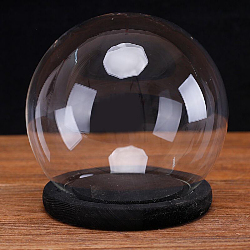 MyGift Clear Glass 6 Inch Terrarium and Keepsake Display Globe with Wood Base