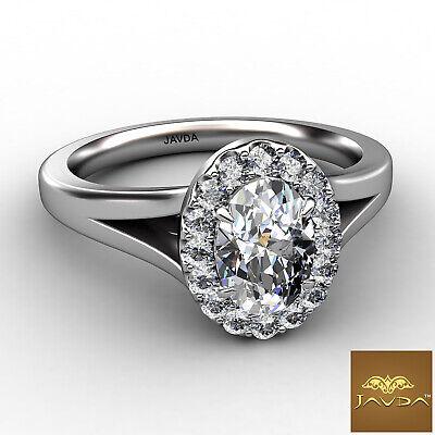 Halo Split Shank Oval Diamond Engagement French Pave Set Ring GIA F VVS1 0.70Ct 1