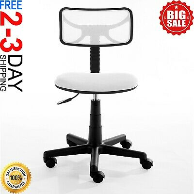 White Mesh Rolling Chair Swivel Office Adjustable Computer Desk Wheels Seat New