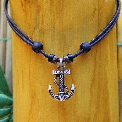Lederkette Halskette Anker Ankerhalskette Rockabilly Herrenkette Damenkette V8