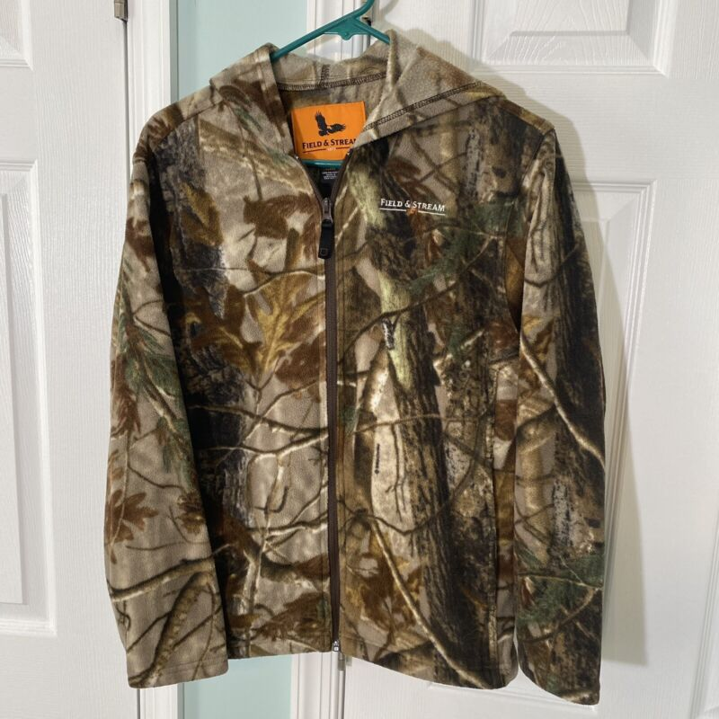 Field & Stream Camo Camouflage Fleece Jacket Hoodie Youth Size L Large