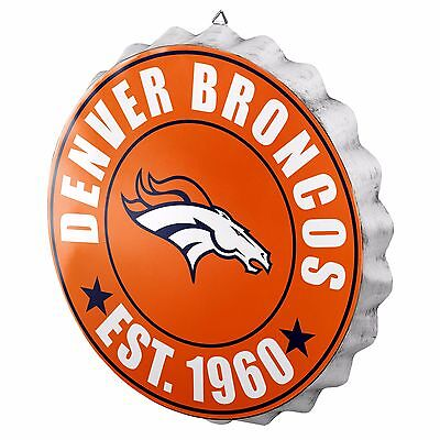 Denver Broncos Bottle Cap Sign - Est 1960 - Room Bar Decor NEW 13.5