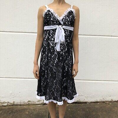 Gerry Shaw evening or cocktail dress (Best fit AU 8) black lace & white