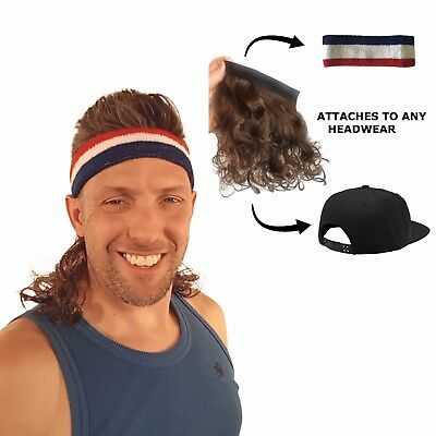 Magic Mullet - Wig Attaches to any Headwear - Mullet Headband - Free Head Band - Magic Wig