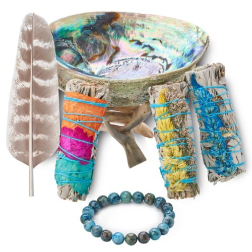 Sage Smudge Kit with 3 Flower Sage Bundles, Abalone Shell & Stand Smudging Kit