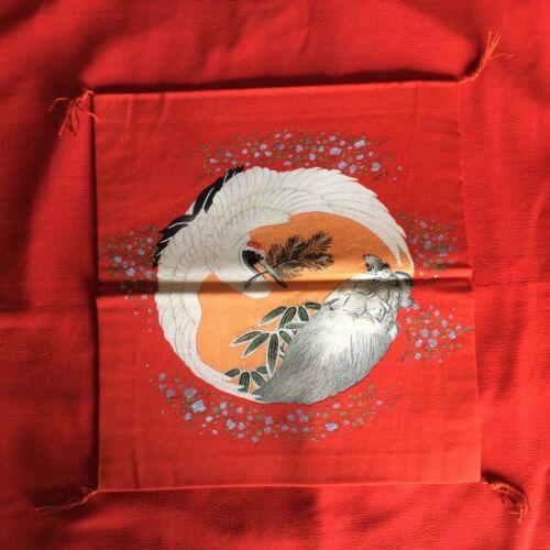 Antique Japanese RARE Fukusa Crane Badger Gift Cover