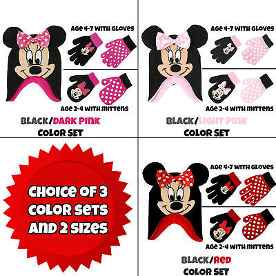 Disney Little Girls Minnie Mouse Hat and 2 Pairs Mittens/Gloves Cold Weather Set (Mouse Mittens)