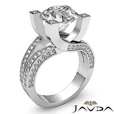Trellis Style Split Shank Round Cut Diamond Engagement Pave Ring GIA I VS2 2.5Ct 1