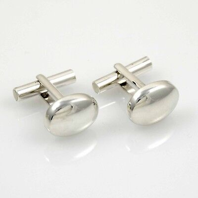 925 Sterling Silver Oval T Bar Cufflinks Wedding, used for sale  Shipping to Ireland