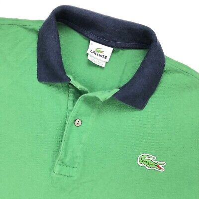LACOSTE Recent Men's Polo Shirt Kelly Green w/ Navy Blue Collar • Size 5   LARGE