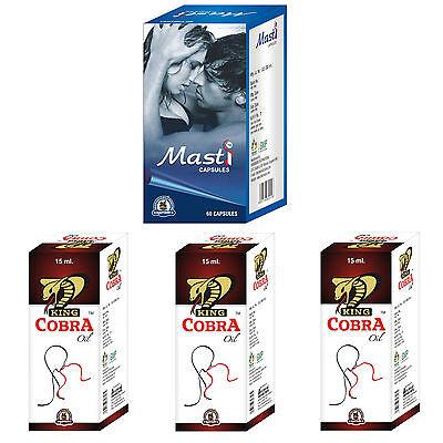 Herbal Sexual Enhancement Supplements For Men 60 Masti Caps - 3 King Cobra Oil