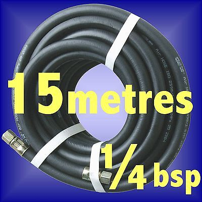 RUBBER AIR COMPRESSOR HOSE AIR LINE 15m metre 1/4 BSP