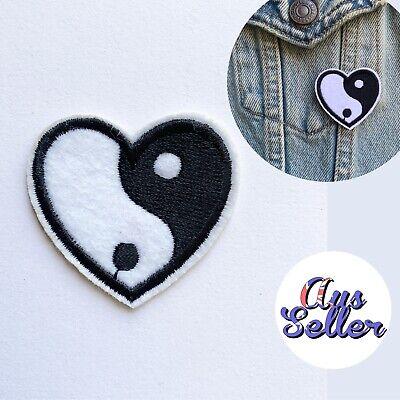 Yin Yang Yoga Sign Iron On Patch Badge Heart Shape Tattoo Diy Clothes Bag Hat Ebay