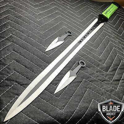 "27"" Ninja Sword Machete Throwing Knife Full Tang Tactical Blade GREEN Katana NEW"