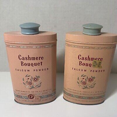 Lot Of 2 Vintage Cashmere Bouquet Talcum Powder Pink 4oz Tins 1/3 Full+ Made USA