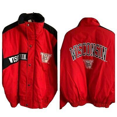 Vintage 90s Wisconsin Badgers Mens Jacket Sz M Red Big Logo Hip Hop Starter Coat