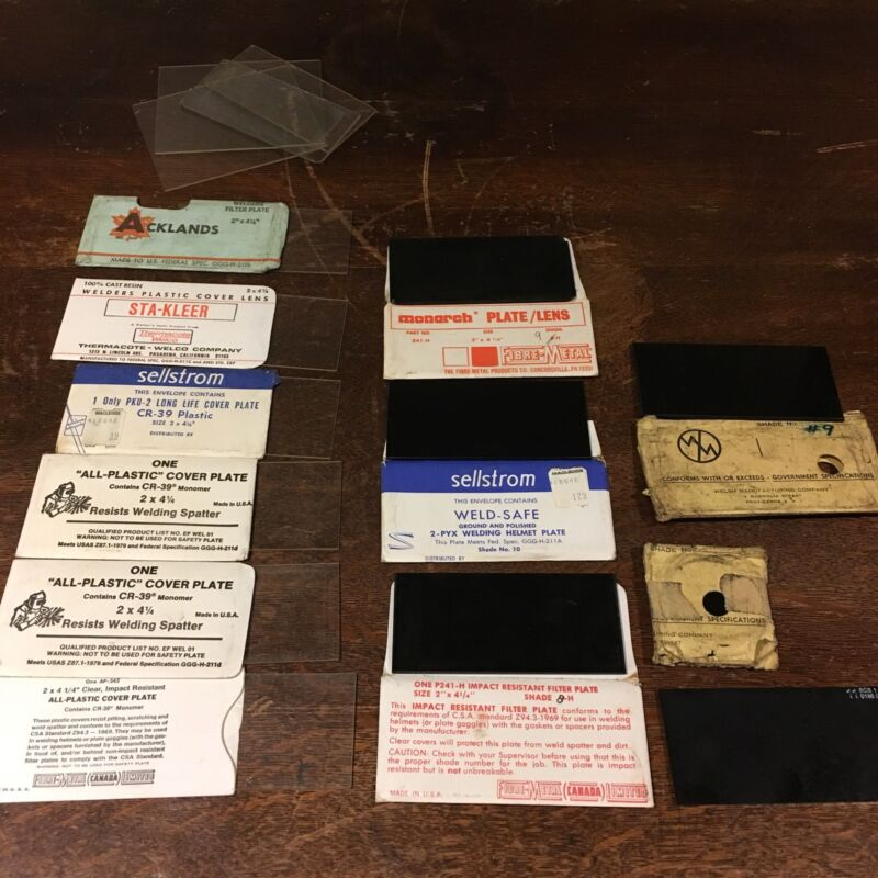 Lot of Welding Glass Plates & Filters Vtg Sellstrom Monarch Acklands Welsh Used