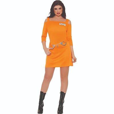 Women's Inmate Babe Orange Jail Sexy Dress Halloween Costume Handcuffs  ](Inmate Costume Women)