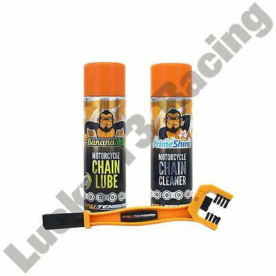 CHAIN LUBE CLEANER AND BRUSH TRU TENSION BANANA SLIP MOTORCYCLE CLEAN