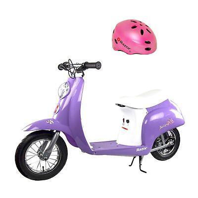 Razor Pocket Mod Miniature 24V Electric Powered Kids Motor Scooter & Helmet