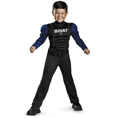 Toddler Boy's SWAT Police Officer Halloween Costume Padded Muscle Jumpsuit 2T