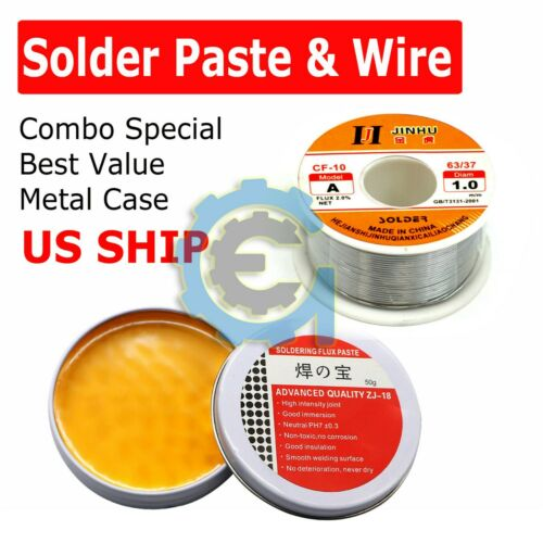60-40 Tin Lead Rosin Core Solder Wire Sn60 Pb40 Flux 1.0mm & Soldering Paste