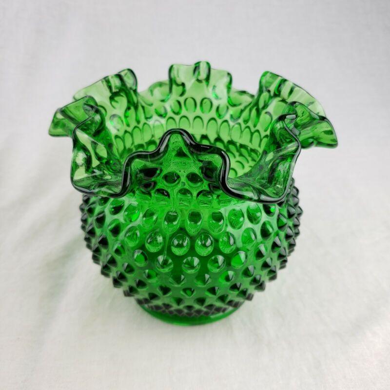 "Vintage Christmas Fenton Glass Springtime Green Hobnail 5.5"" Squat Vase RoseBowl"
