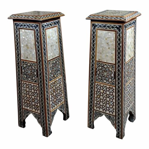 "Syrian Pair of Vintage ""Tower Shaped"" Petite Inlaid Stands"