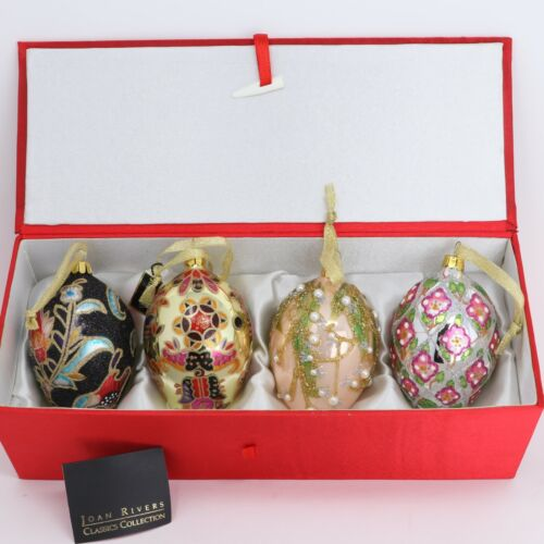 Joan Rivers Set of 4 Russian Inspired Faberge Egg Ornaments Circa 2007