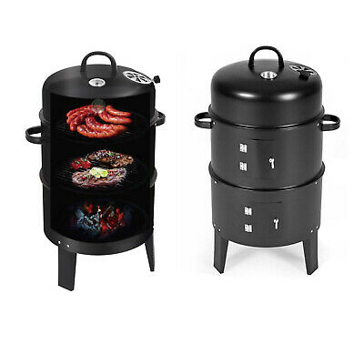 Smoker BBQ Charcoal Grill Portable Outdoor Barbecue Meat Food Cooking Drum Oven