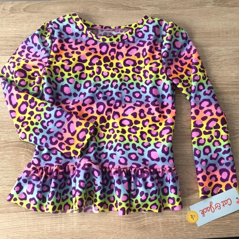 Cat & Jack Toddler Girls Rainbow Leopard Print Rash Guard Swim Top Size 5T