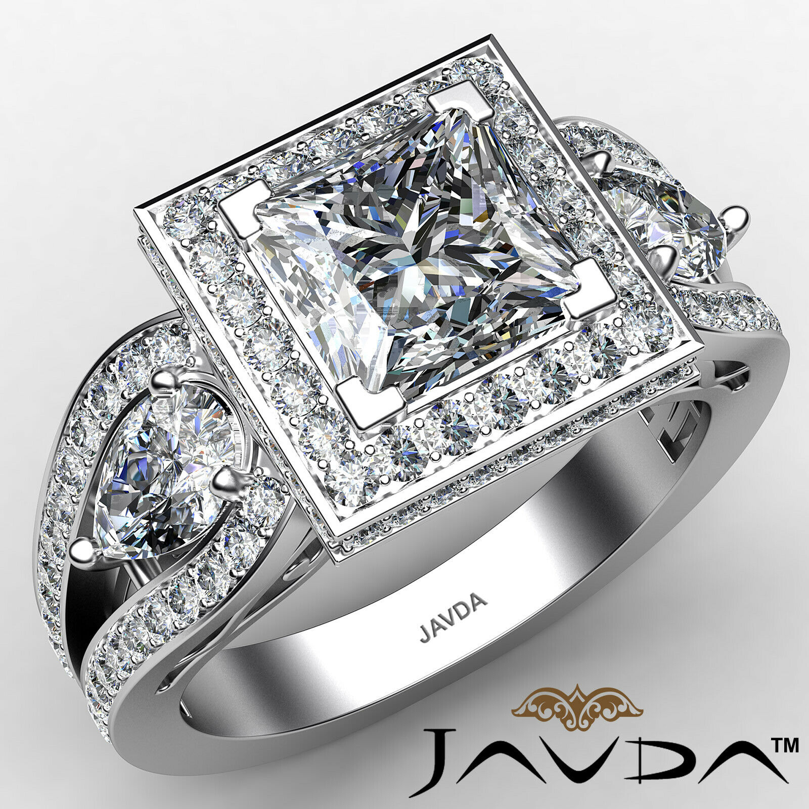 Halo Princess Diamond Engagement 3stone Ring GIA J Color & SI1 clarity 2.85 ctw