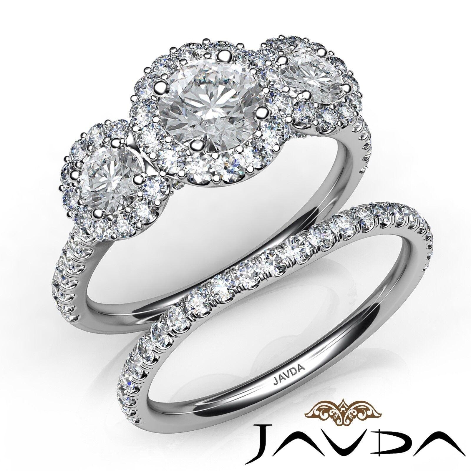 1.85ct 3 Stone Halo Bridal Set Round Diamond Engagement Ring GIA I-IF White Gold
