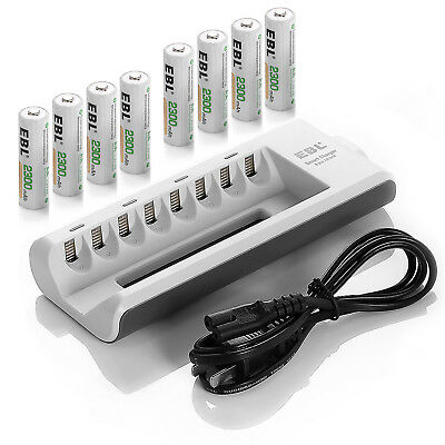 EBL 8x 2300mAh AA Ni-MH Rechargeable Batteries With 8 Channel Battery Charger
