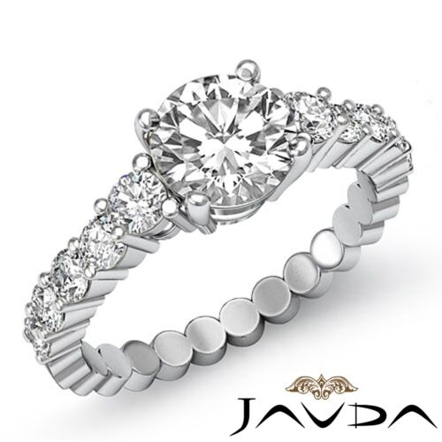 2.2ct Round Prong Set Diamond Classic Engagement Ring GIA F VS2 14k White Gold