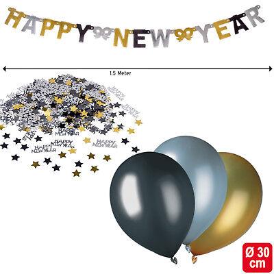 Silvester Party Dekoration Neujahr Tisch Saal Deko Set gold silber schwarz
