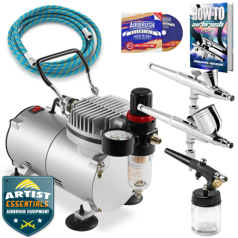 Dual Action Airbrush Kit with 3 Airbrushes