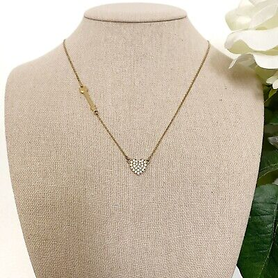 Kate Spade New York Heart and Arrow Crystal Gold Tone Necklace