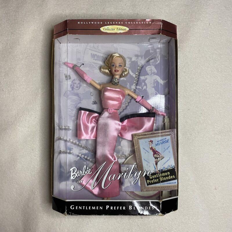 Barbie As Marilyn Monroe Gentlemen Prefer Blondes Pink Dress 1997 BOX HAS DAMAGE