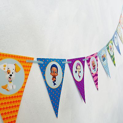 nner Bunting  Flag. Party Supplies Lolly Loot Bag Room Deco (Bubble Guppies-banner)