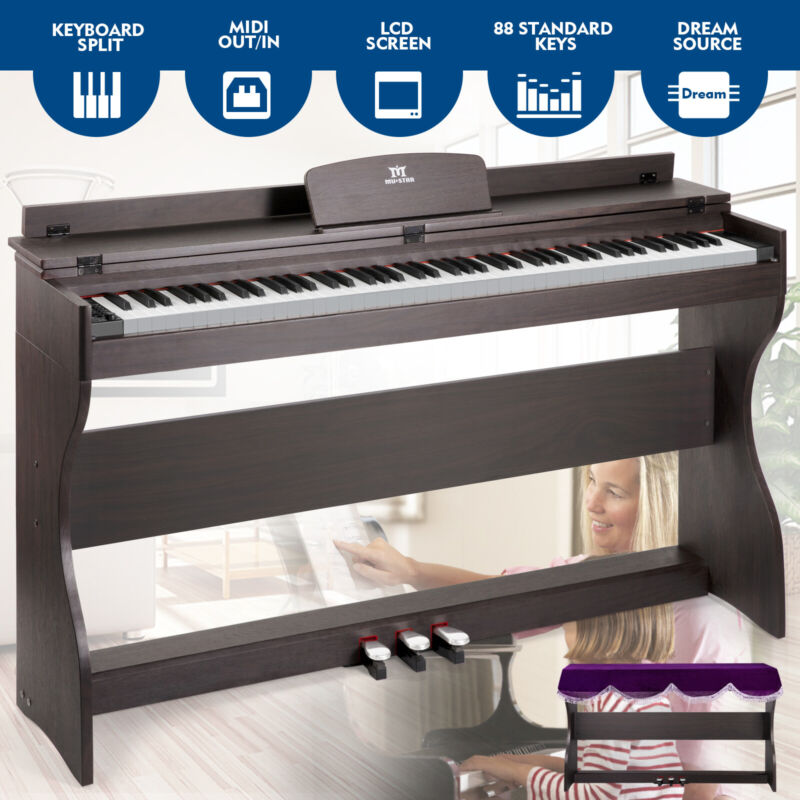 88-Key Digital Piano Electric Keyboard Weighted Stand 3 Pedal MP3/USB/MIDI Cover