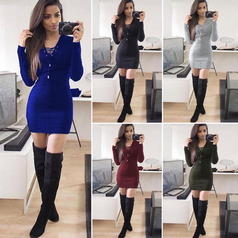 Women Bodycon Sweater Dress Long Sleeve V Neck Knit Stretch