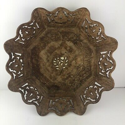 Large Vintage Wood Hand Carved Decorative/Ornate Fruit Bowl