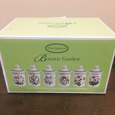 NIB Portmeirion Botanic Garden Set of 6 Herb & Spice Jars NEW Boxed Flowers
