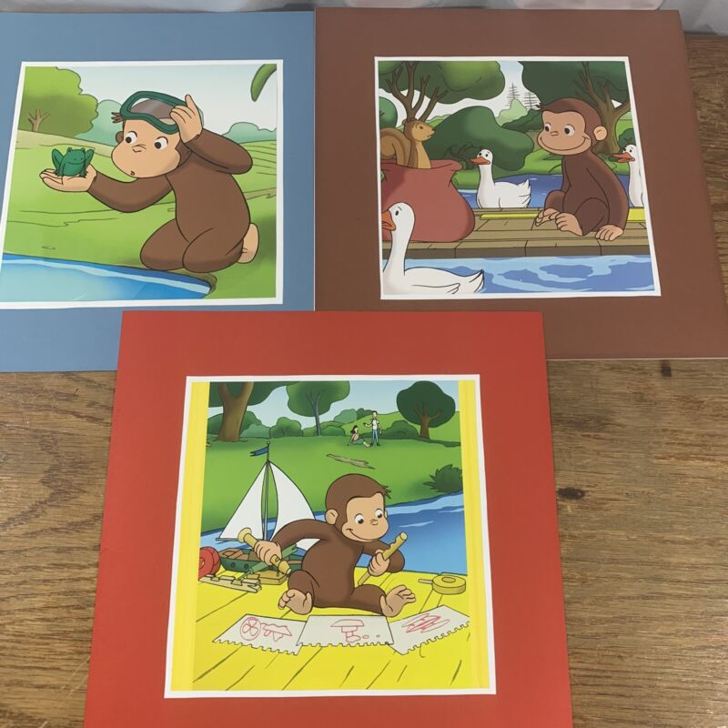 Curious George Lot of 3 Pictures Ready for you to Frame Childs Room Nursery