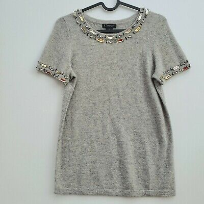 C by BLOOMINGDALES 100% Cashmere Jeweled Neck Sweater Size S
