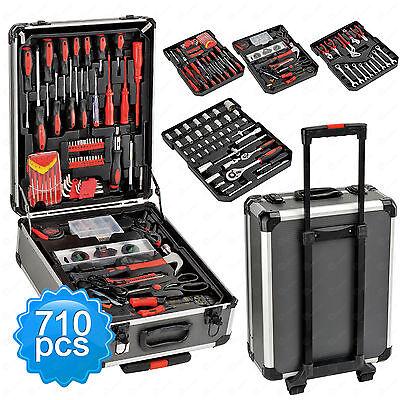 710 pc Tool Set Socket Wrench Standard Metric Mechanics Kit w/ Trolley Case Box