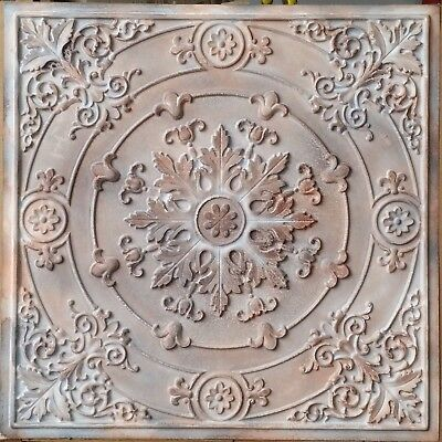 Ceiling tile Faux finishes tin 3D wahsed brown decor wall panel PL18 10tiles/lot