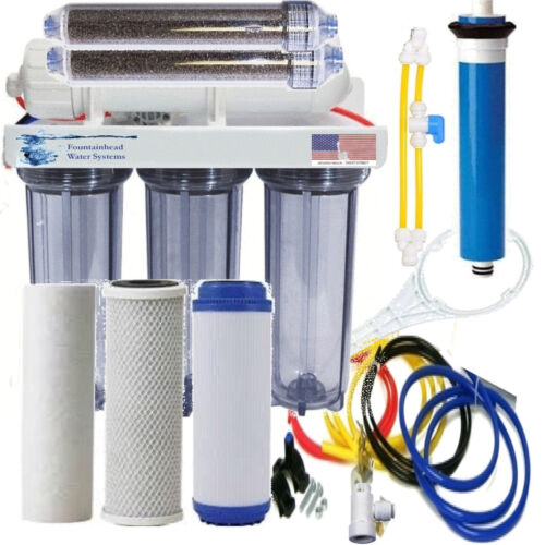 RO/DI  REVERSE OSMOSIS AQUARIUM/REEF SYSTEM CLEAR MANUAL FLUSH VALVE 100 GPD.